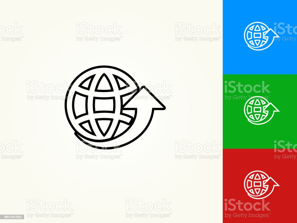 Globe Arrow Black Stroke Linear Icon royalty-free globe arrow black stroke linear icon stock vector art & more images of arrow symbol