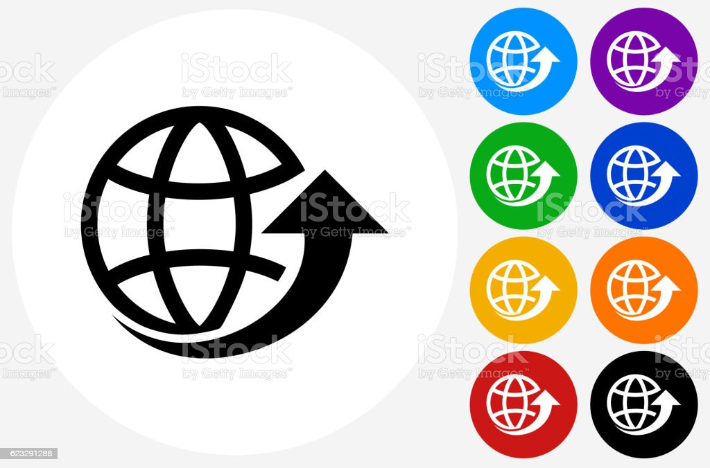 Globe arrow icon on flat color circle buttons stock vector art globe arrow icon on flat color circle buttons royalty free globe arrow icon on flat gumiabroncs Gallery