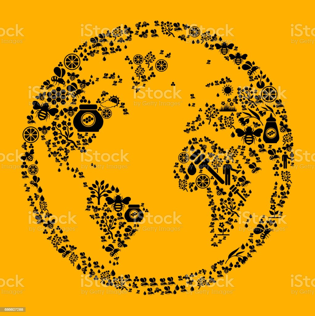 Globe  Bee and Honey Vector Icon Background royalty-free globe bee and honey vector icon background stock vector art & more images of agriculture