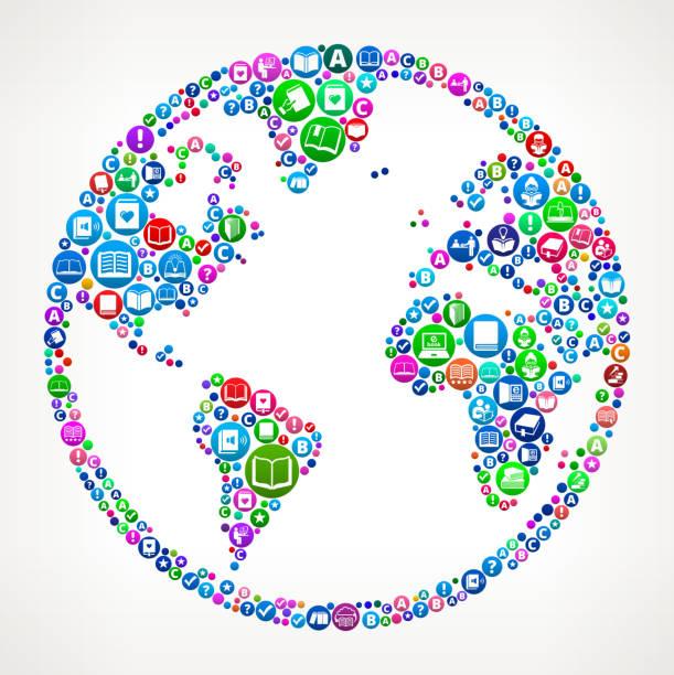 globe bücher und lesen symbol muster hintergrund - reiseliteratur stock-grafiken, -clipart, -cartoons und -symbole