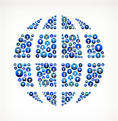 Globe Business People Faces Finance and Teamwork Pattern. This vector collage has blue round buttons arrange in seamless patter. Individual iconography on the buttons shows business people portraits. Businessmen and businesswomen convey a feeling of unity teamwork and partnership. This royalty free vector background graphic is ideal for your business and finance concepts.