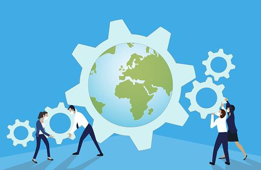 Globe business teamwork. Change Management Concept.