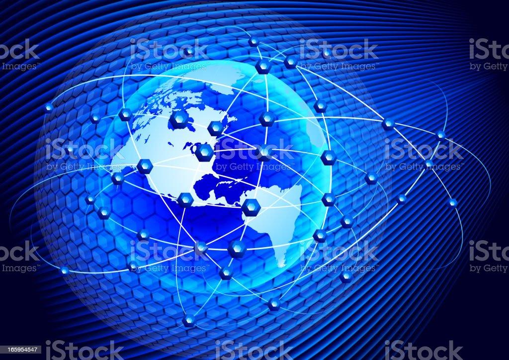 Globe cellular communication vector art illustration