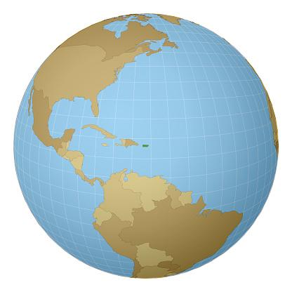 Globe centered to Puerto Rico.