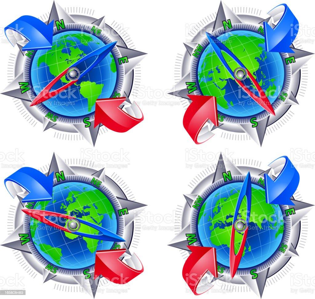 Globe compass travel vector art illustration