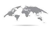 Globe Curved World Map - Vector Illustration