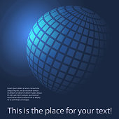 Dark Blue Glowing Checkered Sphere - Abstract Globe Design Template with Tiled Surface in Editable Vector Format