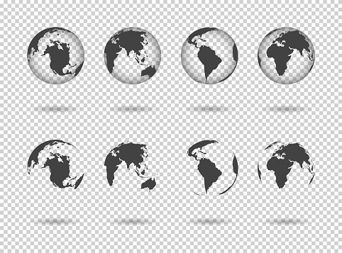 Globe earth. Icons of world maps. Set of 3d globus with europe, asia, africa, usa, australia and china. Gray simple planets on transparent background. Design graphic for logistics and travel. Vector