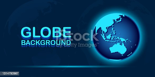 istock Globe earth map on abstract digital blue background 1314792667