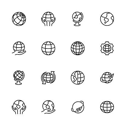 Globe, earth or world line icon set. Editable stroke vector.