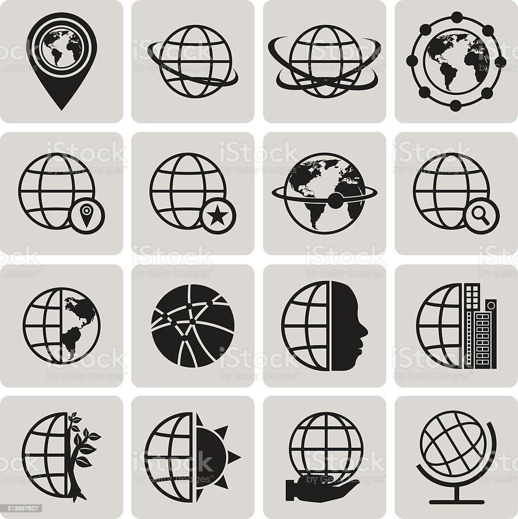 Globus Erde-Vektor Schwarze Symbole set2.  Vektor-Illustration eps10 – Vektorgrafik