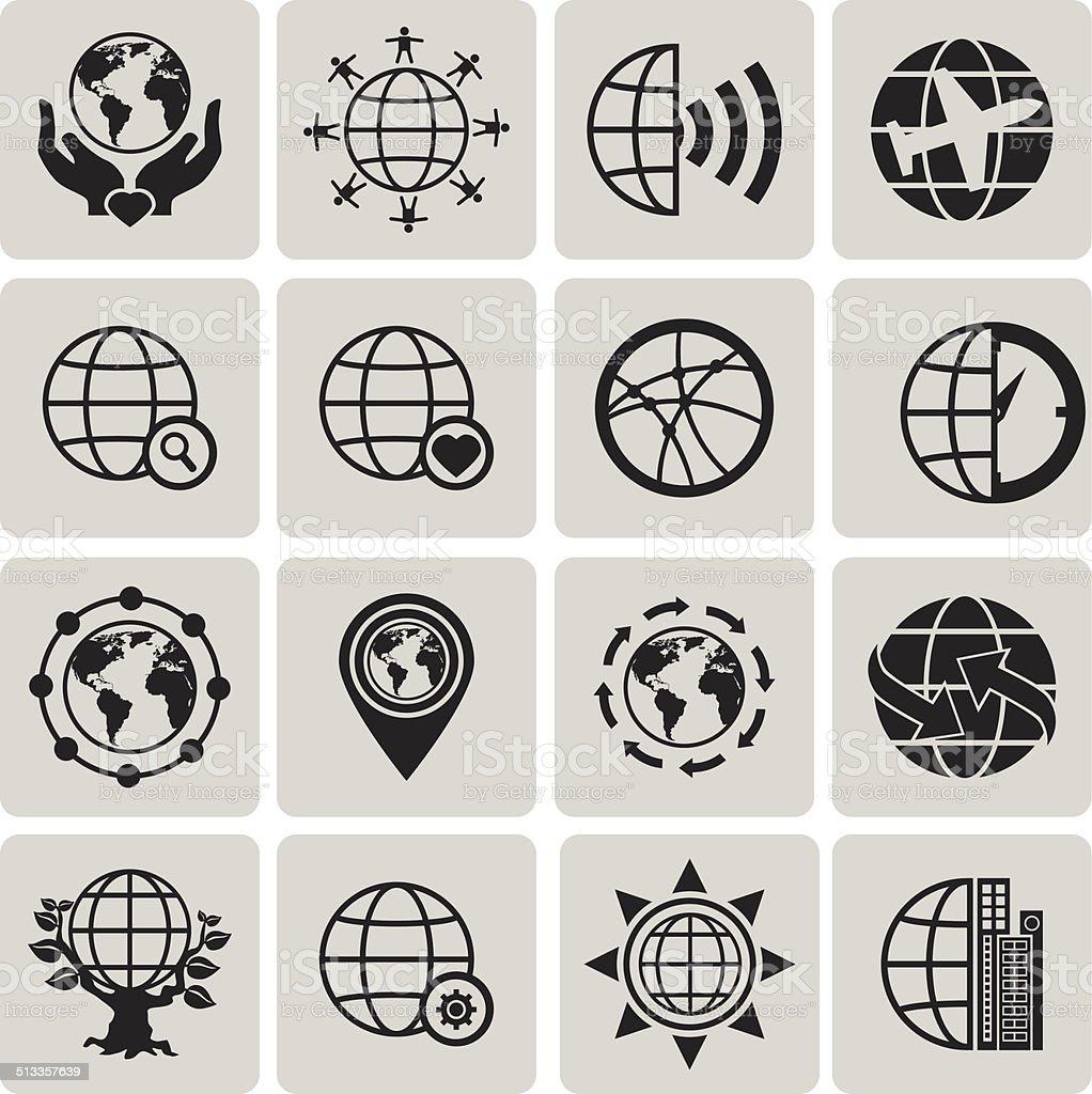 Globus Erde-Vektor Schwarze Symbole set3 zu wechseln.  Vektor-Illustration eps10 – Vektorgrafik