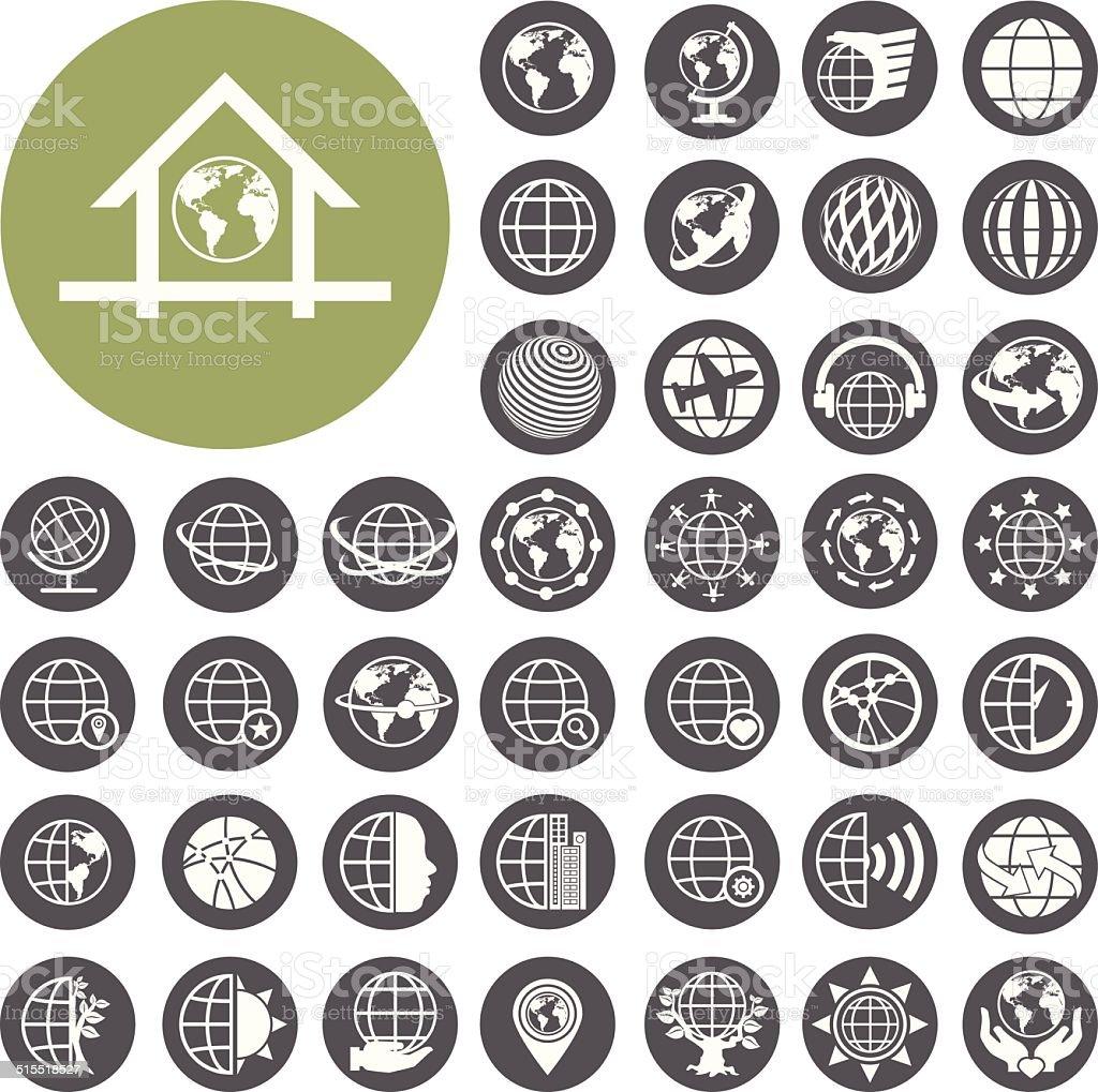 Globus Erde-Vektor-icons set.  Illustration eps10 – Vektorgrafik