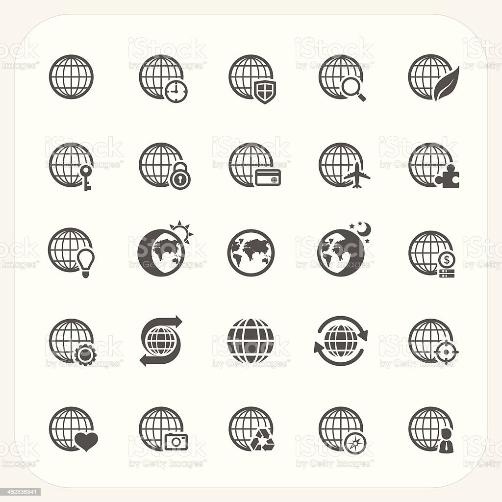 Globe earth vector icons set royalty-free globe earth vector icons set stock vector art & more images of adult