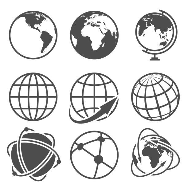 Globe earth vector icons set vector art illustration