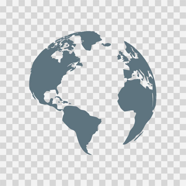 globus erde vektor-illustration, weltplanet im flachen stil - globus stock-grafiken, -clipart, -cartoons und -symbole