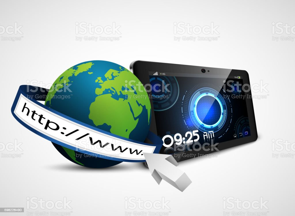 Globe earth with address bar and fingerprint on tablet ilustração de globe earth with address bar and fingerprint on tablet e mais banco de imagens de abstrato royalty-free
