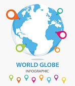 Globe earth with color pointer marks. Vector illustration.