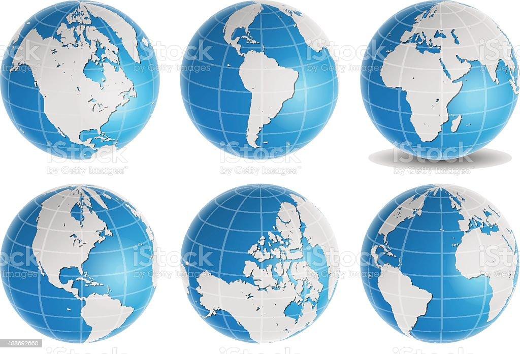 globe earth world map vector set vector art illustration