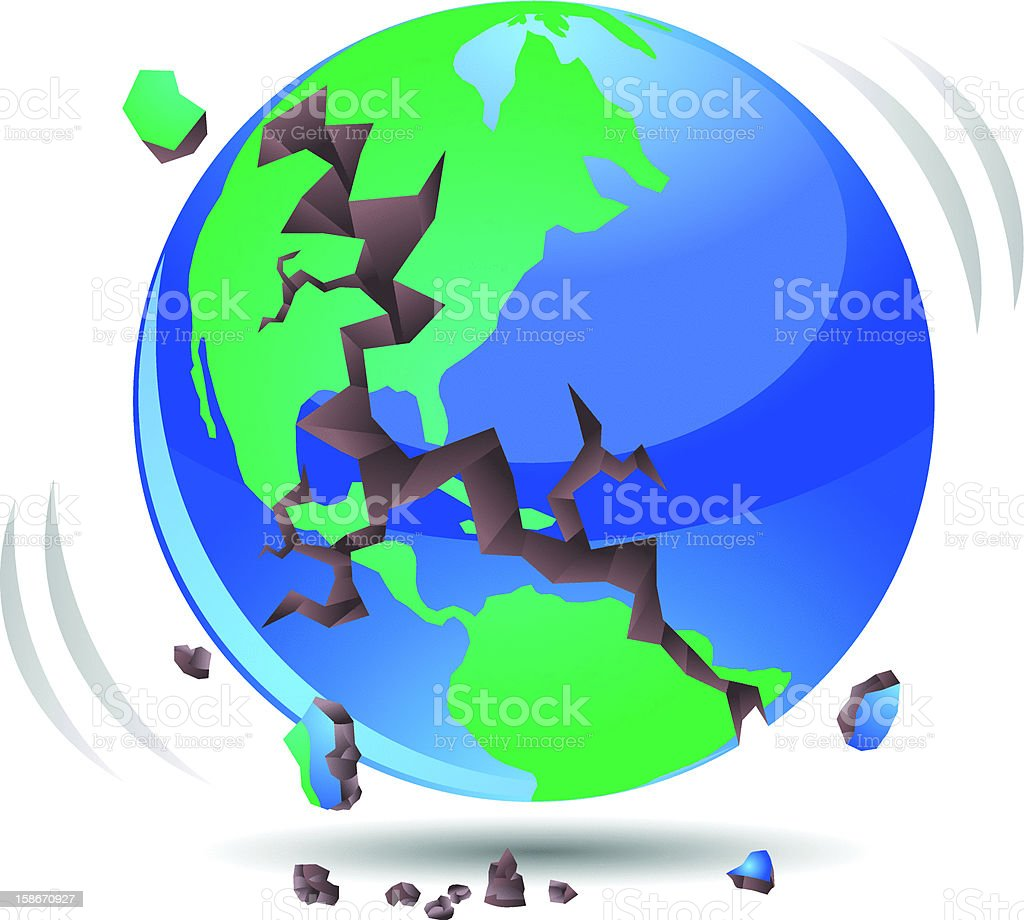 Globe Earthquake with Cracks Vector royalty-free stock vector art
