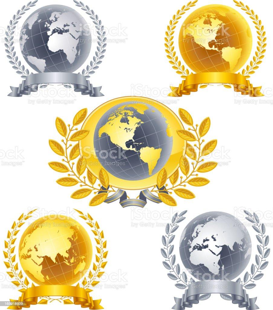 Globe emblem vector art illustration