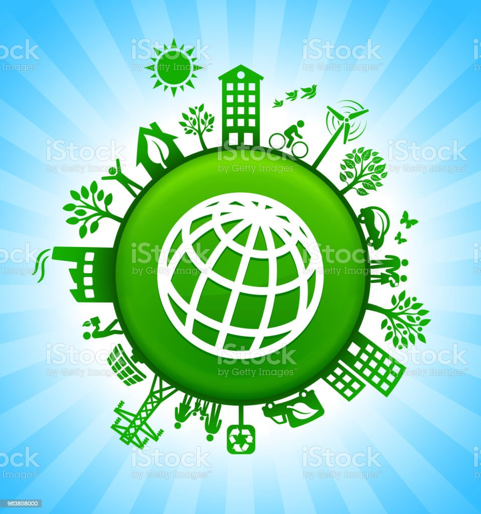 Globe Environment Green Button Background on Blue Sky - Royalty-free Alternative Energy stock vector