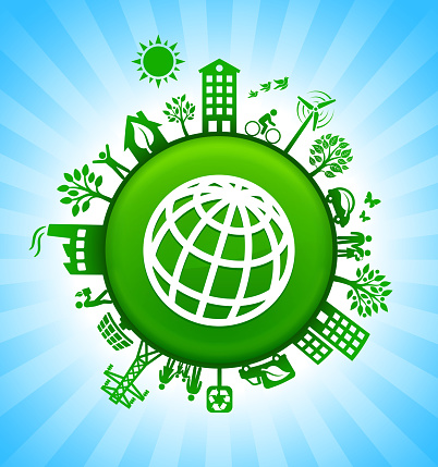 Globe Environment Green Button Background On Blue Sky Stock Illustration - Download Image Now