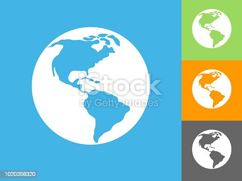 Globe  Flat Icon on Blue Background. The icon is depicted on Blue Background. There are three more background color variations included in this file. The icon is rendered in white color and the background is blue.