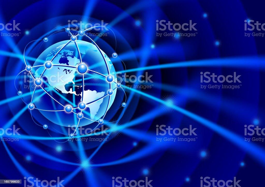 Globe global communication vector art illustration