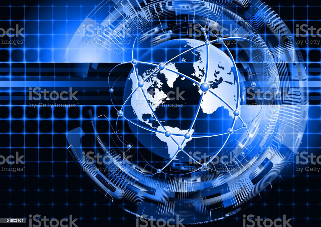 Globe global communications vector art illustration