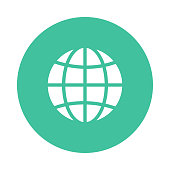 globe glyph flat circle icon