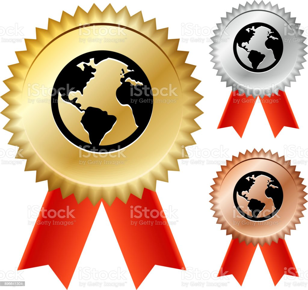 globe gold medal prize ribbons stock vector art more images of