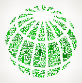 Globe  Health and Wellness Icon Set Background Pattern . This vector graphic composition features the main object composed of health and wellness icons. The icons vary in size and shades of green color. The vector icons form a seamless pattern to form the object. The background is white with a slight gradient. The icons include such popular healthcare and wellness icons as fitness, water, people exercising, massage, stretching, yoga and many more. You can use this entire composition or each icon can also be used separately and as not part of the icon set.