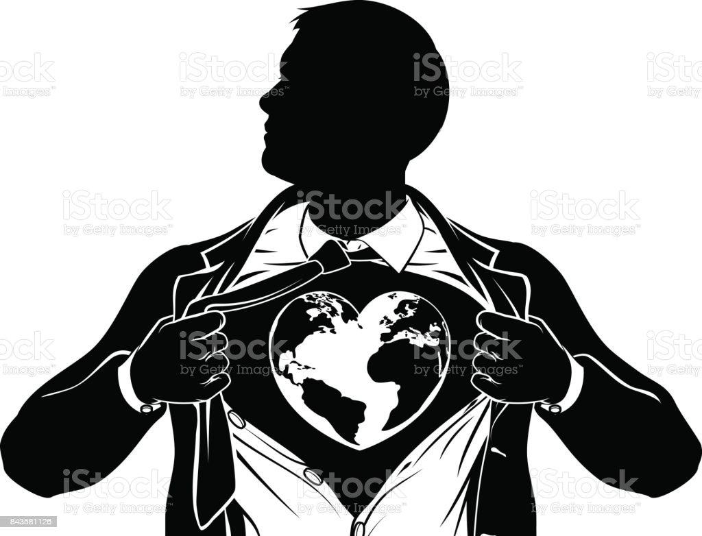 Line Drawing Heart Shape : Globe heart business superhero tearing shirt chest stock vector