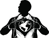 Globe Heart Business Superhero Tearing Shirt Chest