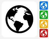 Globe Icon. This 100% royalty free vector illustration features the main icon pictured in black inside a white square. The alternative color options in blue, green, yellow and red are on the right of the icon and are arranged in a vertical column.