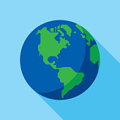 Vector illustration of a stylized planet Earth against a blue background in flat style.