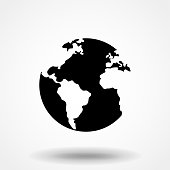 Globe Icon In Flat Style Vector For App, UI, Websites. Black Icon Vector Illustration