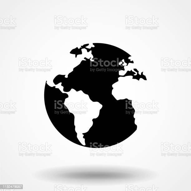 Globe Icon In Flat Style Vector For App Ui Websites Black Icon Vector Illustration - Arte vetorial de stock e mais imagens de Aplicação móvel