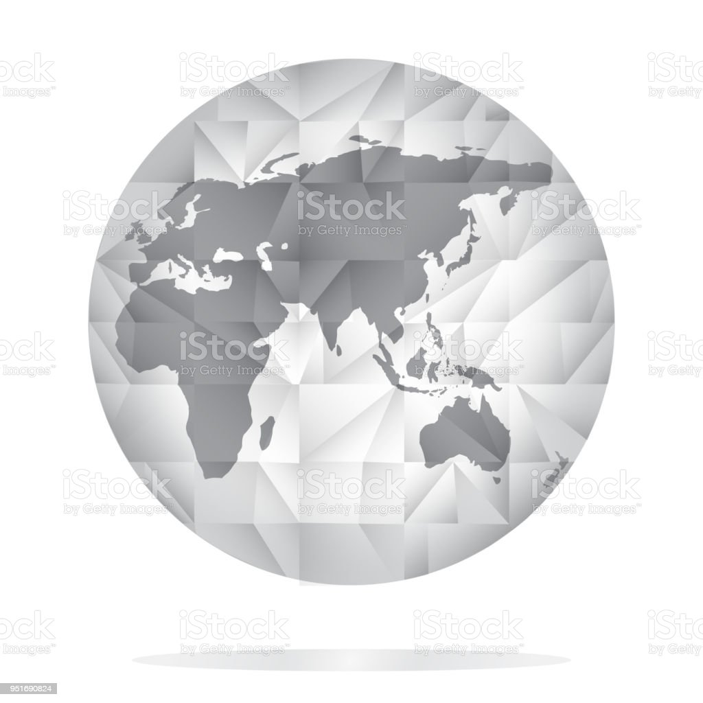 Globe icon in grey color world map background in polygonal style globe icon in grey color world map background in polygonal style stock vector gumiabroncs Choice Image