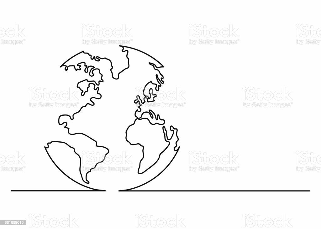 Globe icon in line art style. Planet Earth icon. Continuous line drawing. Single, unbroken line drawing style