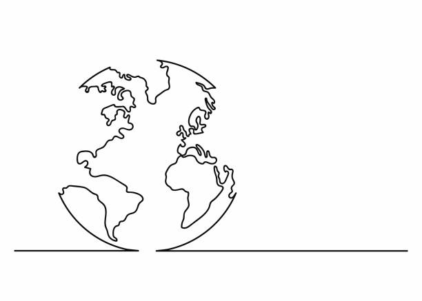 globe icon in line art style. planet earth icon. continuous line drawing. single, unbroken line drawing style - single object stock illustrations