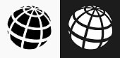 Globe Icon on Black and White Vector Backgrounds. This vector illustration includes two variations of the icon one in black on a light background on the left and another version in white on a dark background positioned on the right. The vector icon is simple yet elegant and can be used in a variety of ways including website or mobile application icon. This royalty free image is 100% vector based and all design elements can be scaled to any size.