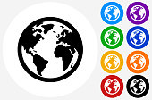 Globe Icon on Flat Color Circle Buttons. This 100% royalty free vector illustration features the main icon pictured in black inside a white circle. The alternative color options in blue, green, yellow, red, purple, indigo, orange and black are on the right of the icon and are arranged in two vertical columns.