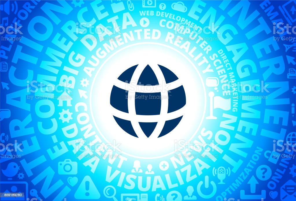 Globe Icon On Internet Modern Technology Words Background