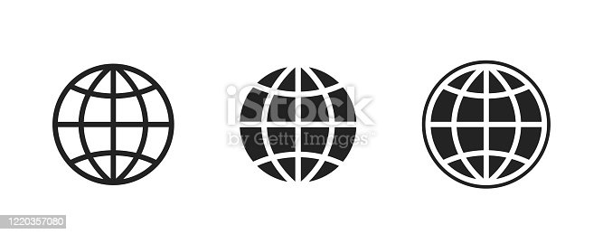 globe icon set. planet earth sign. simple schematic isolated vector images of world.