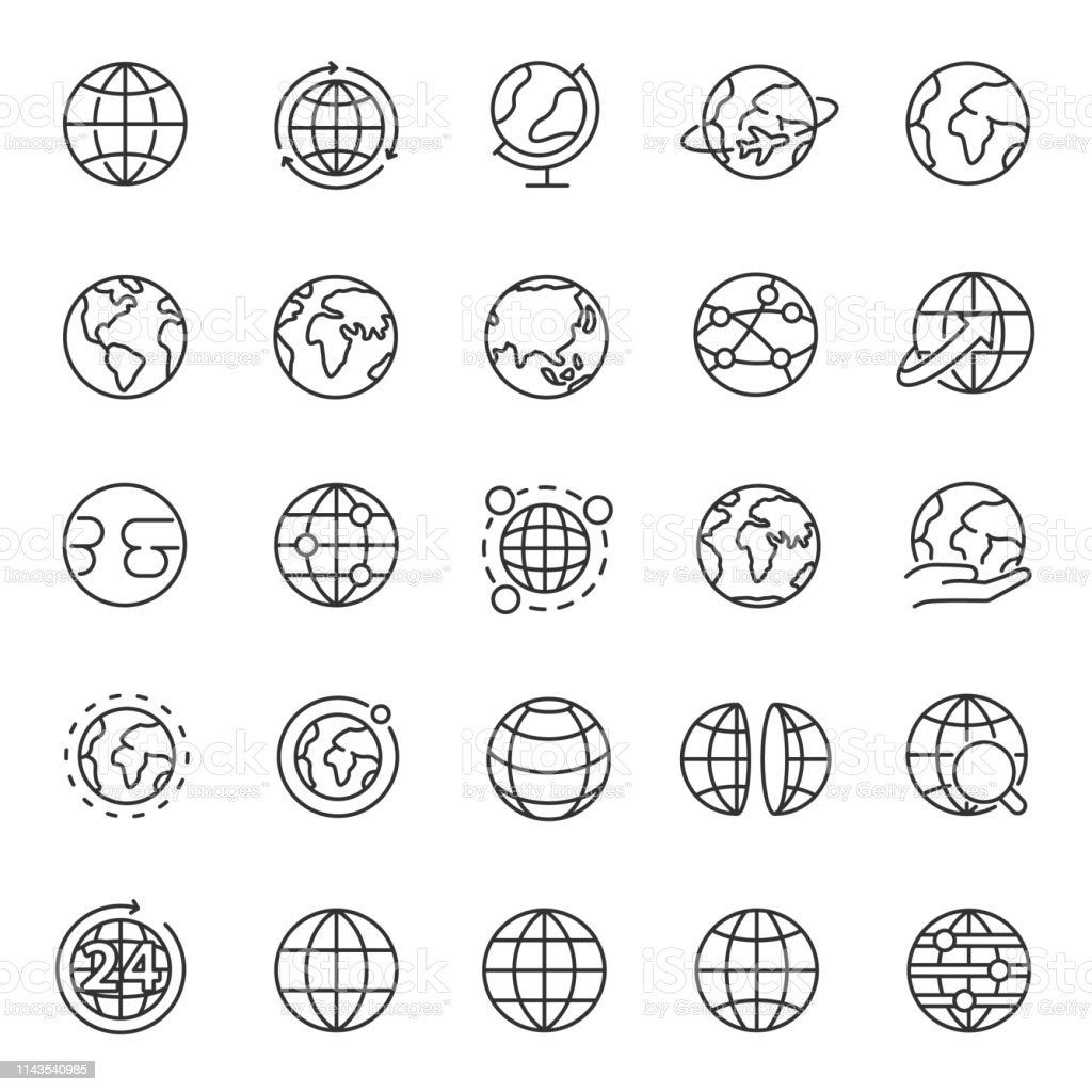 Globe, icon set. Planet Earth, world map in different variations, linear icons. Editable stroke - Royalty-free Branco arte vetorial