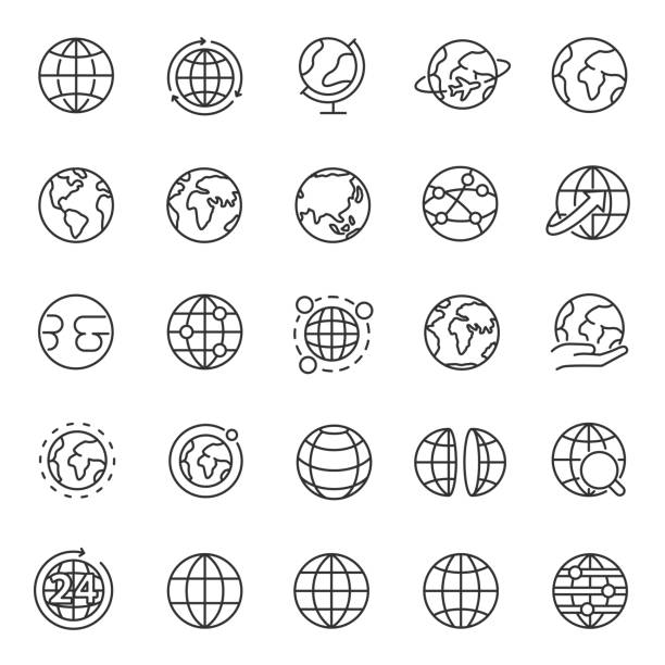 stockillustraties, clipart, cartoons en iconen met globe, icon set. planet earth, wereldkaart in verschillende variaties, lineaire iconen. bewerkbare lijn - fysische geografie