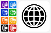 Globe Icon Square Button Set. The icon is in black on a white square with rounded corners. The are eight alternative button options on the left in purple, blue, navy, green, orange, yellow, black and red colors. The icon is in white against these vibrant backgrounds. The illustration is flat and will work well both online and in print.