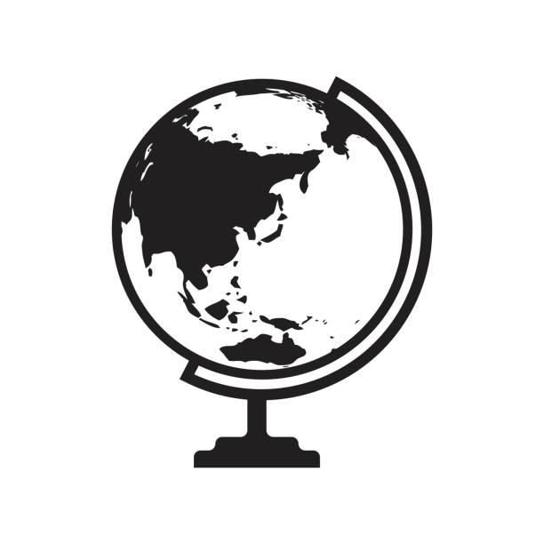 地球儀アイコン アジアとオーストラリア地図 - ベクター グラフィックと - アジア点のイラスト素材/クリップアート素材/マンガ素材/アイコン素材
